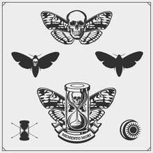 Memento Mori. Hourglass, Butterfly And Skull. Brevity Of Human Life. Print Design For T-shirt.