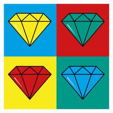 Pop Art Colored Four Diamonds In Frames Vector Design