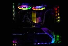Custom Pc Building Rgb Illuminated Asus Corsair Amd Zotac Computer Setup Interior Colorful Rainbow