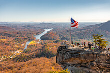 Chimney Rock At Chimney Rock State Park And Lake Lure, North Carolina,USA In Fall Season.