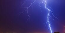 Mesmerizing Shot Of Large Lightning Strike To Ground