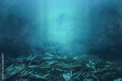 trash on the ocean floor