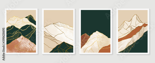 Fotografija Luxury Gold Mountain wall art vector set