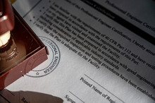 Selective Focus On Generic Professional Engineer, Architecture. Or Surveyor Stamp And Certification Statement