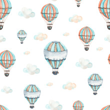 Watercolor Children Seamless Pattern Transport By Air With Cute Hot Air Balloons, Clouds