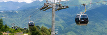 Cable Car Or Cable Railway In Summer Mountains