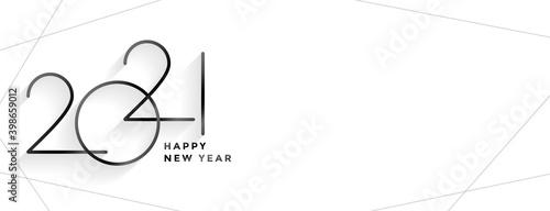 Obraz minimal style 2021 happy new year clean banner design - fototapety do salonu
