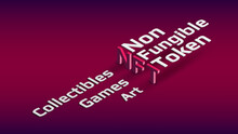 NFT Nonfungible Token Isometric Text On Dark Red Background. New Class Of Coins. Pay For Unique Collectibles In Games Or Art. Design Element. Vector Illustration.