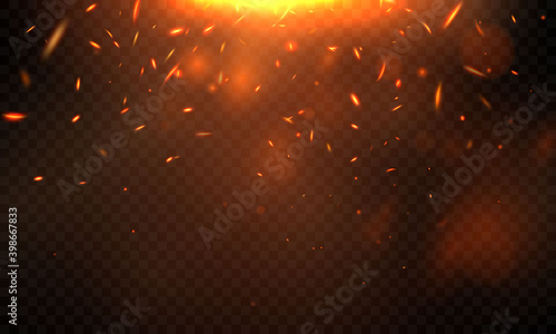 Fotografia Burning red hot sparks realistic fire flames