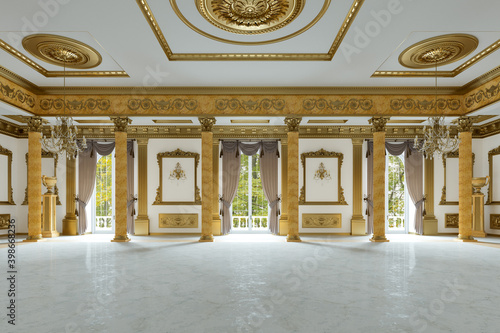 The ballroom and restaurant in classic style. 3D render. 3d image Fototapet