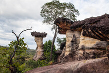 The Sao Chaliang Rock Carvings In Pha Taem National Park In Ubon Ratchathani Province Thailand Asia