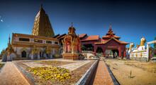 KANCHANABURI, THAILAND - Januaey 27, 2020: Golden Pagoda Of Bodhgaya Stupa Or Phuthakaya Pagoda, Sangklaburi, Kanchanaburi, Thailand