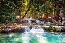 Erawan Waterfall Is A Beautiful Waterfall In Spring Forest In Kanchanaburi Province, Thailand.