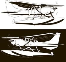 Monochrome Sketch Of A Single-engine Hydroplane, 2 Options