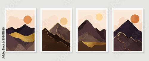 Canvas Print Luxury Gold Mountain wall art vector set