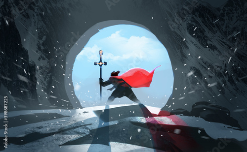 Fotografie, Obraz Digital illustration painting design style king with magic staff walk through his kingdom, against blue sky and blizzard