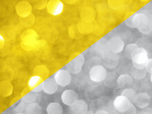 Trendy Color Of The Year 2021. Sparkling Background Made Of Illuminating Yellow And Ultimate Gray Colors. Color Of Year 2021 Blurred Backdrop For Holidays And Parties. Coy2021 Concept. Copy Space