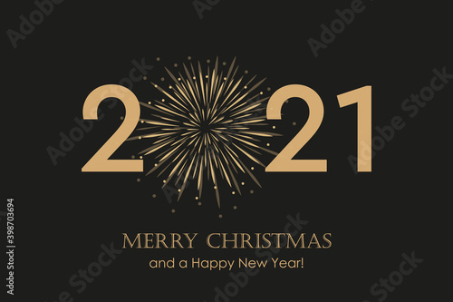 happy new year 2021 typography with fireworks vector illustration EPS10