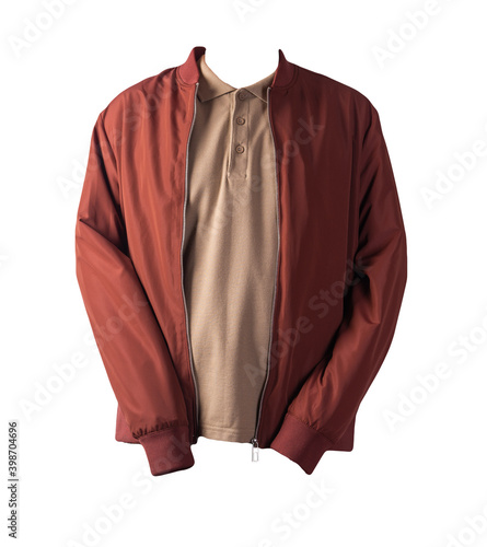 Fotografia men's bomber jacket and polo shirt isolated on white background