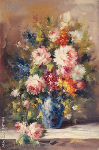 Obraz na płótnie Still life vase with rose flowers. Oil painting picture