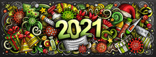 2021 Cartoon Cute Doodles New Year And Coronavirus Illustration.
