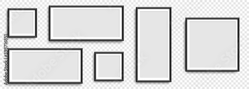 Fototapeta Photo frames. Collection Photo frames, isolated. Template mockup photo frame different shapes. Transparent background. Vector illustration obraz