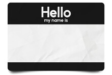 Black Hello My Name Is Name Tag Blank Template