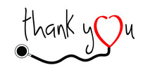 Slogan Thank You Nurse. With Stethoscope Sign On 12 May. Medical Health Care. Thank You Nurses Day Sign. Fun Vector Quote. Hand Drawn Word For Possitive Inspiration And Motivation