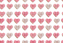 Pink Hearts Seamless Pattern. A Lot Of Tiny Heart Shape Buttons Isolated On White Background. Romantic Symbol Of Love. Happy Valentine's Day. Top View, Flat Lay.