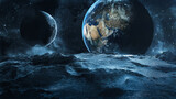 View from asteroid on earth with moon 3D Illustration