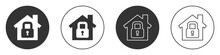 Black House Under Protection Icon Isolated On White Background. Home And Lock. Protection, Safety, Security, Protect, Defense Concept. Circle Button. Vector Illustration