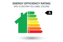 Energy Efficiency Rating And Eco-friendly Home Renovation Performance Illustration, Low Consumption Eco House, Sustainable Development, EPS 10 Vector