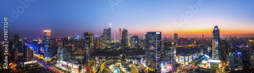 Fototapeta Aerial photography of Chinese city night view and modern building landscape skyl