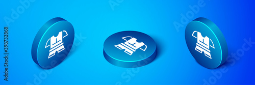Fotomural Isometric Body armor icon isolated on blue background