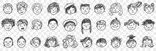 Portraits Doodle Set. Collection Of Funny Hand Drawn Human Children Faces With Different Hairstyle Expressing Various Emotions Isolated On Transparent Background. Illustration Of Happiness And Sadness