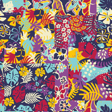 Cute Tropical Plants Flower And Leaves Wallpaper Abstract Colorful Floral Patchwork Vector Seamless Pattern