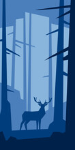 Low Poly Silhouette Landscape With Deer. In Forest. Vector Illustration