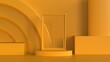 Yellow picture frame mockup on ellipse stage with cube cylindre and oval podium on shiny yellow background 3d rendering illustration
