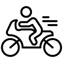Icon Of Bike Rider In Line Design.