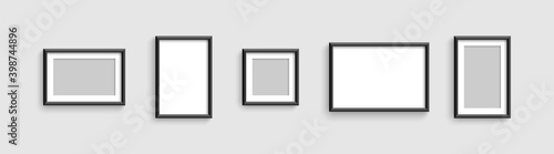 Fototapeta Photo frames. Vector template for picture. Collection Photo frames, isolated. Template mockup photo frame different shapes. Vector illustration obraz