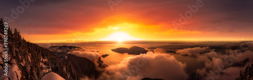 St Mark's Summit, in Howe Sound, North of Vancouver, British Columbia, Canada. Panoramic Canadian Mountain Landscape View from the Peak. Dramatic Winter Sunset Sky Art Render.