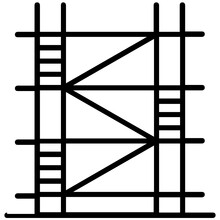 Construction Site Scaffolding In Line Icon