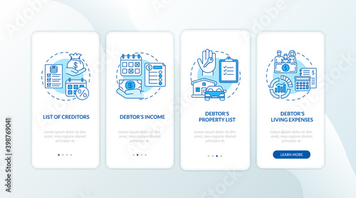 Fotografía Creditor and debtor blue onboarding mobile app page screen with concept