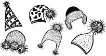 Headwear White And Black Vector Illustration Set