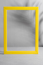 Yellow Frame With Palm Shadows On Grey Background. Trendy Colors 2021.