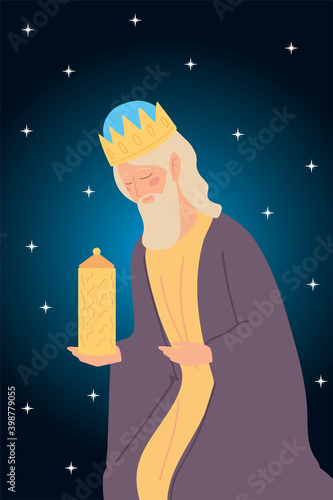 Valokuva nativity caspar wise king with gift, stars background
