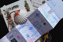 Personal Belongings Of A Pilgrim - A Pilgrim's Passport With Seals, A Shell, A Certificate Of Completion Of The Pilgrimage