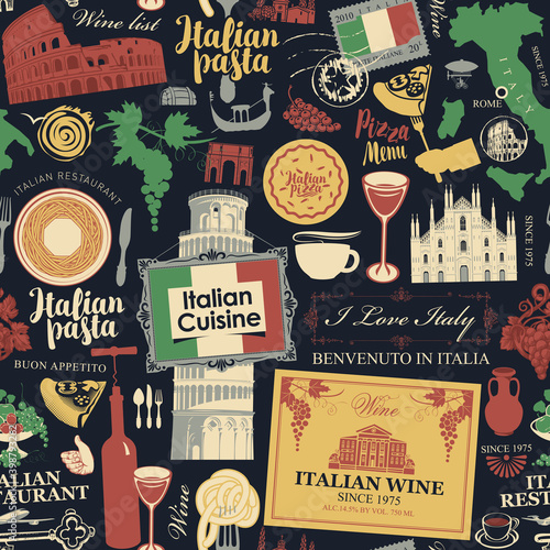 Canvas-taulu Abstract seamless pattern on the theme of Italy and Italian cuisine in retro style on the black background