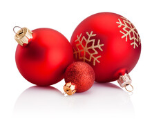 Three Christmas Red Baubles Isolated On White Background