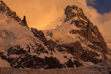 Les Bossons Glacier And Mountains In The Chamonix Valley At Sunset Near Montblanc, French Alps.